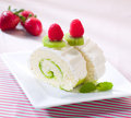 Raspberry and kiwi roll cheesecake Royalty Free Stock Images