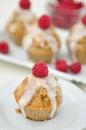 Raspberry lemon cupcakes home made Stock Photography