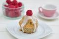 Raspberry lemon cupcakes home made Stock Photos