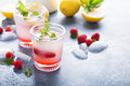 Raspberry lemon lemonade for summer days Royalty Free Stock Photo