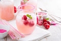 Raspberry lemonade in a glass Royalty Free Stock Photo