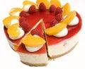 Raspberry & Mandarin cheesecake Royalty Free Stock Photos