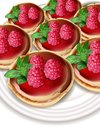 Raspberry mini cakes Vector realistic. Sweet tasty dessert. Menu template banners