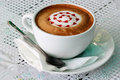 Raspberry mocha coffee heart parttern Stock Photos