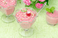 Raspberry mousse decorated with mint and fresh raspberries horizontal closeup Royalty Free Stock Photo