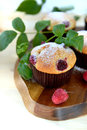 Raspberry muffins on a cutting board with leaves of Stock Image