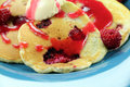 Raspberry Pancakes Stock Photo