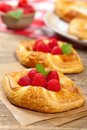 Raspberry pastries homemade with selective focus Stock Image