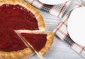 Raspberry pie fresh tasty filling a piece of the Stock Image