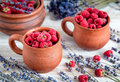 Raspberry in pottery cup with lavander on wooden background