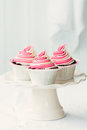 Raspberry ripple cupcakes on a cakestand Royalty Free Stock Image