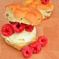 Raspberry scones Stock Photos