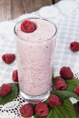 Raspberry shake homemade with fresh fruits Stock Photography
