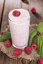 Raspberry shake homemade with fresh fruits Stock Image