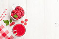Raspberry smoothie and berries in bowl Royalty Free Stock Photo