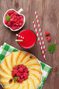 Raspberry smoothie, cake and berries Royalty Free Stock Photo