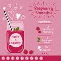 Raspberry smoothie recipe. Royalty Free Stock Photo