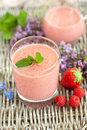 Raspberry strawberry smoothie Royalty Free Stock Photography