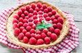 Raspberry tart with custard fresh raspberries top view Royalty Free Stock Photography