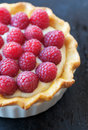 Raspberry tart fresh red with vanilla pastry cream and delicate golden crust Royalty Free Stock Photo