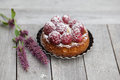 Raspberry tarte small french with icing sugar on wooden table Stock Photography