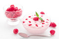 Raspberry yogurt bowl of with raspberries Stock Photo