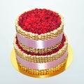 Raspbery cake two tier fresh raspberry Stock Photography