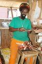 Rasta craftsman working Carriacou Stock Image