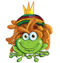 Rasta frog cartoon isolate on white Stock Photos