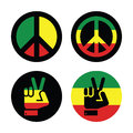 Rasta peace hand gesture vector icons set rastafarian symbols isolated on white Royalty Free Stock Image