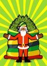 Rasta Santa Claus wishes. Big Red sack hemp. Bag of marijuana. P Royalty Free Stock Photo