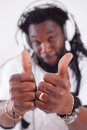 Rasta show thumbs up a rastafari two focus on Royalty Free Stock Photography
