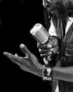 Rasta singer with microphone a closeup of a a chrome picture is black and white Royalty Free Stock Photo
