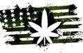 Rastafarian american flag green with marijuana plant Royalty Free Stock Photography