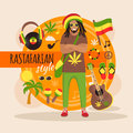 Rastafarian character pack for man male with stylish accessory and objects vector illustration Stock Image