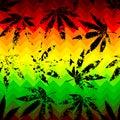 Rastafarian chevron pattern and grunge hemp seamless background leaves Royalty Free Stock Photography