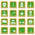 Rastafarian icons set green