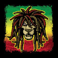 Rastafarian lion cartoon dreadlocks reggae colors Stock Photos