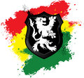 Rastafarian lion shield red yellow and green grunge Stock Photo