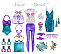 Handmade Raster Fashion Illustration - Mermaid outfit set - clip art set Royalty Free Stock Photo