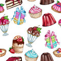 Raster seamless background with variety of sweet food - pastry - cakes