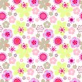 Seamless floral pattern pink flowers on white background, spring-summer background in pastel colors Royalty Free Stock Photo