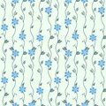 Seamless spring floral pattern with blue ornate flowers for textile design, paper wallpaper, gift wrapping