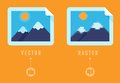 Raster vs concept flat icons infographic design elements comparison of different image formats Royalty Free Stock Photo