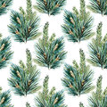 Raster watercolor christmas tree pattern Royalty Free Stock Photo