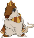 Rat in a cap and a scarf. Cartoon Royalty Free Stock Photography