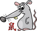 Rat chinese zodiac horoscope sign cartoon illustration of Royalty Free Stock Image