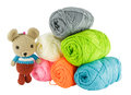 Rat doll yarn with balls of knitting Royalty Free Stock Image