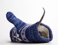 Rat in mitten with tail outside on white Stock Photos