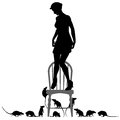 Rat phobia editable vector silhouettes of a frightened woman standing on a chair surrounded by rats Royalty Free Stock Photos